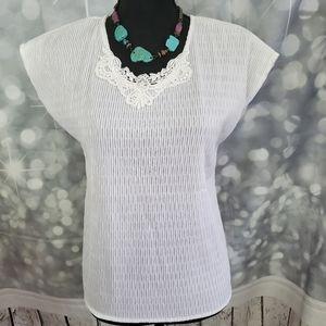 Joanna Petite White Blouse Embroidered Neckline